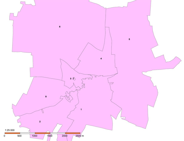 Schéma volebních okrsků